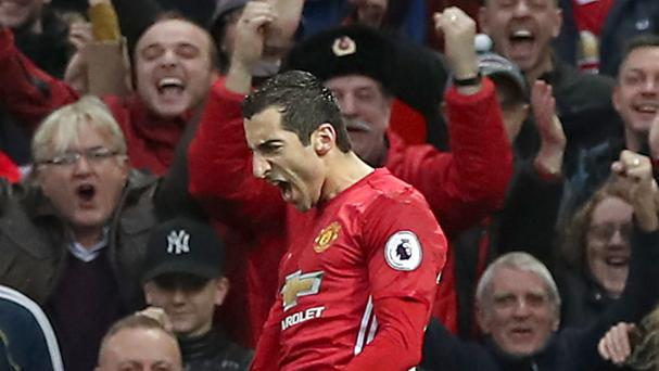 Manchester United's Henrikh Mkhitaryan celebrates the winner in their 1-0 Premier League victory over Tottenham