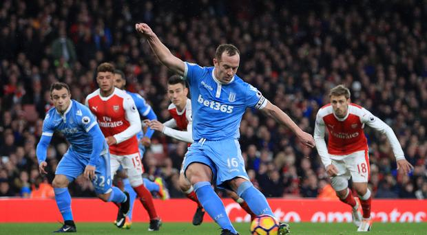 Stoke's Charlie Adam opened the scoring in their 3-1 defeat at Arsenal on Saturday.
