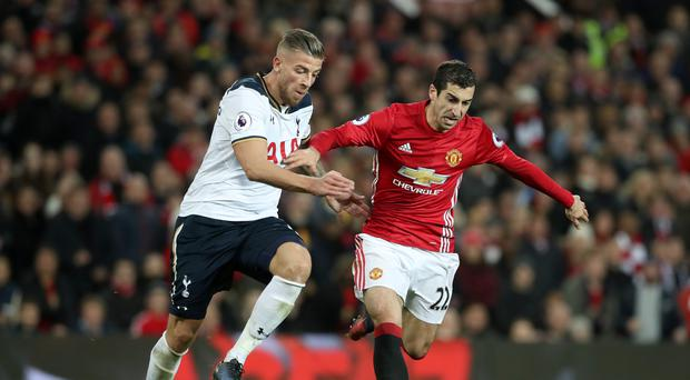 Toby Alderweireld (left) made his first start in eight weeks against Manchester United on Sunday.