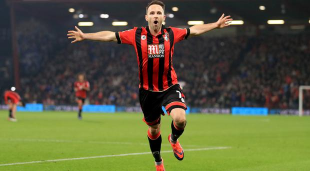 Marc Pugh celebrates scoring the winner against Leicester