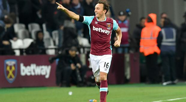 Mark Noble celebrates his first-half goal
