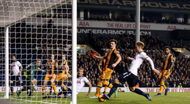 Christian Eriksen netted twice for Tottenham against Hull