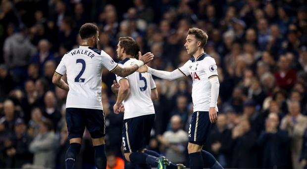 Christian Eriksen (right) scored twice against Hull on Wednesday.