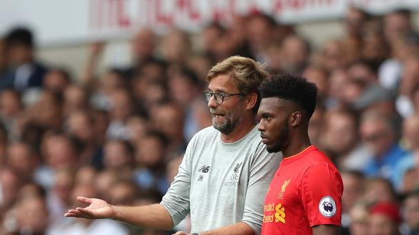 Liverpool manager Jurgen Klopp (left) is hoping Daniel Sturridge (right) is fit to play a cameo in Monday's Merseyside derby
