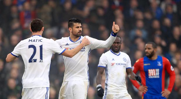 Chelsea's Diego Costa, centre, scored their only goal as they won 1-0 at Crystal Palace