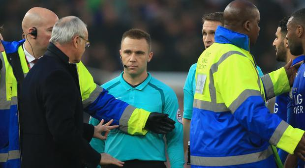 Claudio Ranieri, left, was livid with referee Craig Pawson