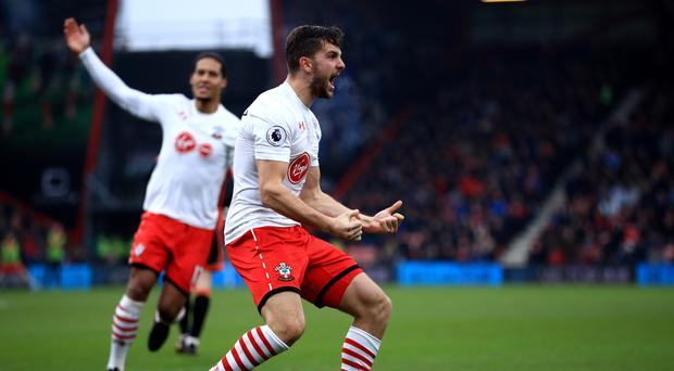 Southampton's Jay Rodriguez celebrates scoring his side's second goal of the game during the Premier League match at the Vitality Stadium, Bournemouth.