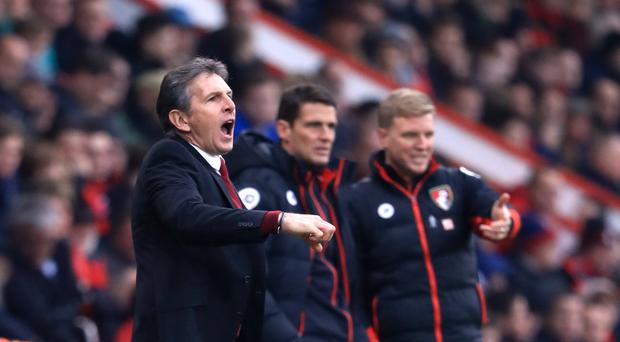 Claude Puel, pictured left, guided Saints to a derby victory on the south coast
