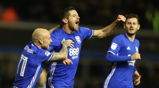Lukas Jutkiewicz, centre, has scored six goals for Birmingham this season