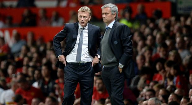 Jose Mourinho, right, is trying to succeed where David Moyes could not
