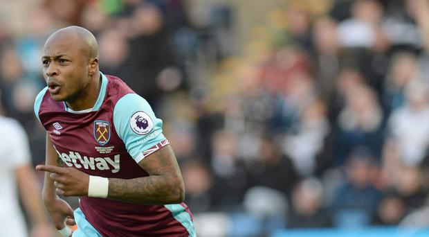 West Ham's Andre Ayew netted the first goal in a 4-1 win at Swansea