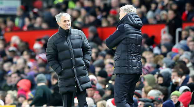 Manchester United manager Jose Mourinho, left, and Sunderland manager David Moyes, right, locked horns at Old Trafford