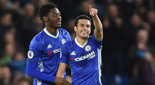 Chelsea's Pedro, right, scored their third goal against Bournemouth