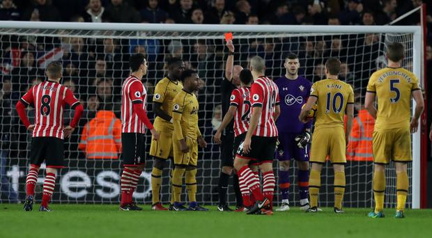 Southampton's Nathan Redmond was dismissed by Mike Dean
