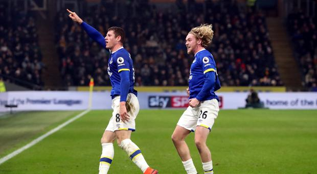 Everton's Ross Barkley, left, celebrates his equaliser