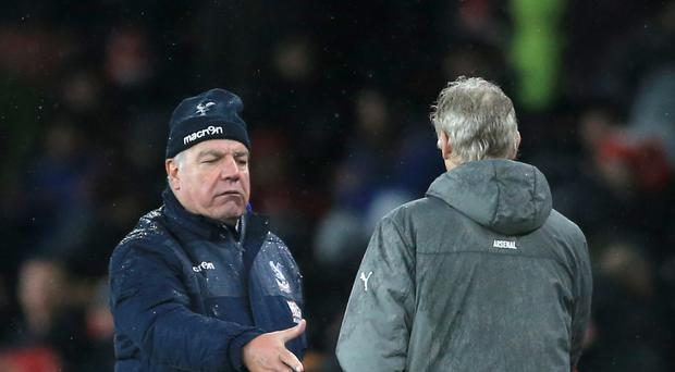 Arsenal boss Arsene Wenger, right, came out on top in his battle with Crystal Palace's Sam Allardyce.