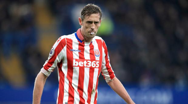 Stoke boss Mark Hughes is pleased with the contribution of 35-year-old Peter Crouch, pictured