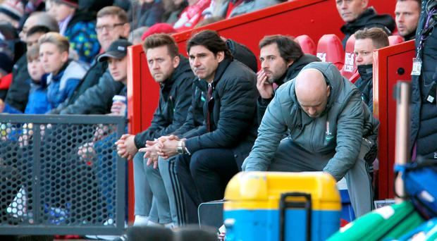 Making plans: Aitor Karanka looks on yesterday