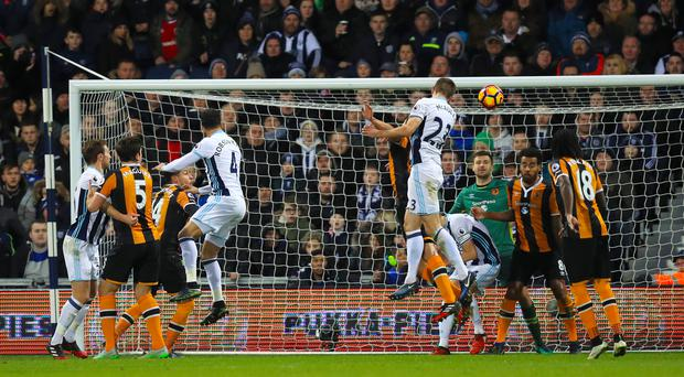 Gareth McAuley scored West Brom's second goal in their 3-1 win over Hull