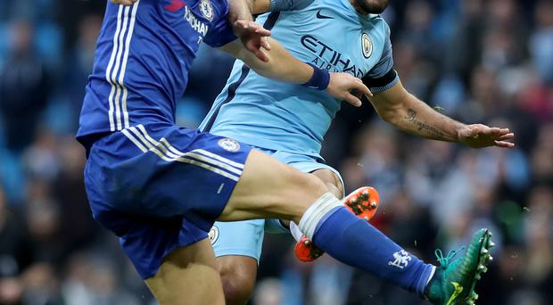 Chelsea argued that the club's culture has changed under Antonio Conte before being fined following a fracas which began when Manchester City's Sergio Aguero (right) fouled David Luiz