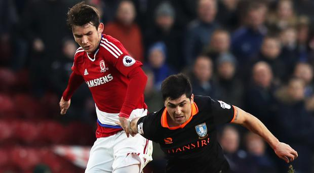 Middlesbrough's Marten de Roon (left) scored his third goal of the season against Sheffield Wednesday