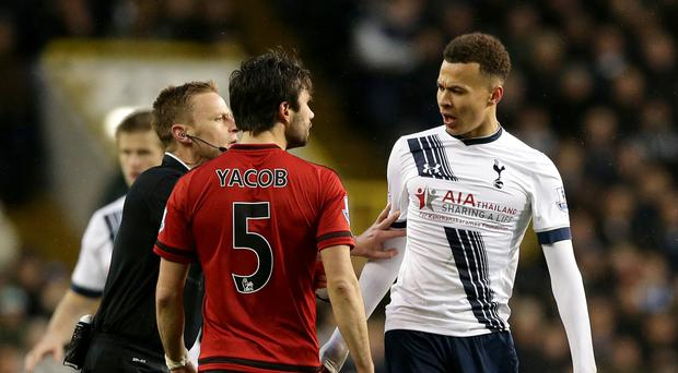 Tottenham's Dele Alli was sent off in last season's draw with West Brom after clashing with Claudio Yacob
