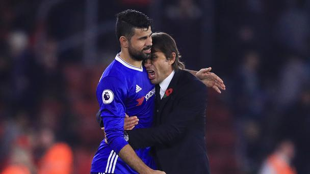 Antonio Conte, pictured, said it was important that Chelsea were able to prove they can win without Diego Costa
