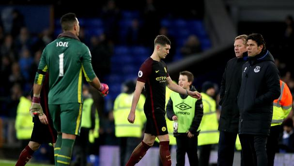 Manchester City's John Stones, pictured centre, had a day to forget at Everton