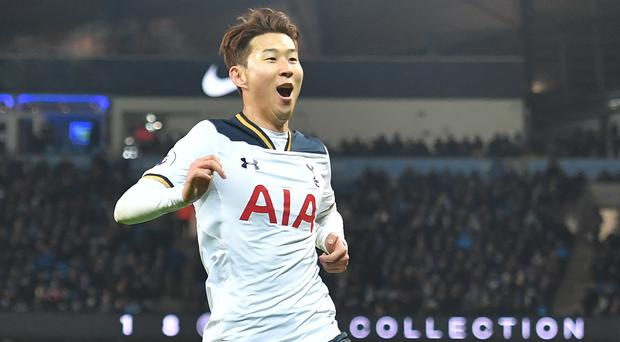 Substitute Son Heung-min celebrates his leveller