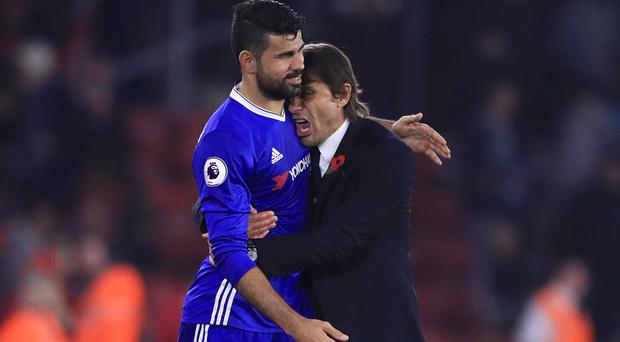 Antonio Conte (right) says Chelsea are unified after speculation over the future of Diego Costa (left)