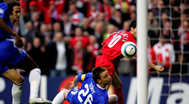 Liverpool's Luis Garcia scores the controversial goal in the Champions League semi-final win against Chelsea in 2005
