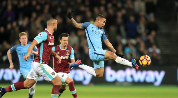 Gabriel Jesus, right, gave West Ham the runaround on his full Premier League debut