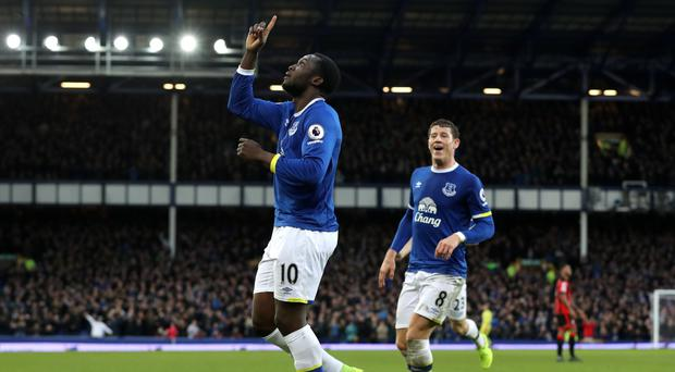 Romelu Lukaku celebrates his fourth goal of the afternoon against Bournemouth