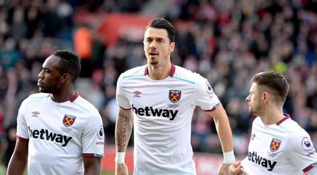 Jose Fonte, centre, returned to Southampton with West Ham