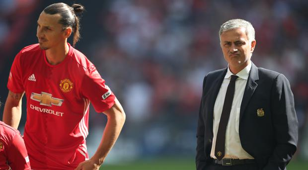 Jose Mourinho, right, expects Zlatan Ibrahimovic, left, to still be a Manchester United player next term