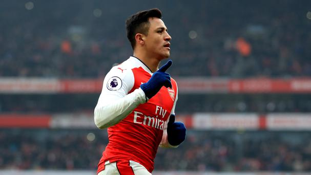 Alexis Sanchez celebrates his second goal in Arsenal's 2-0 win over Hull