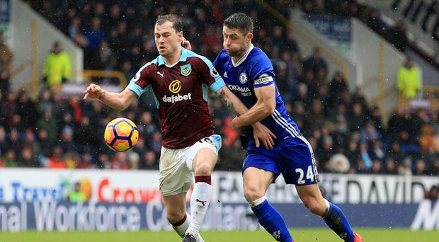 Gary Cahill, right, made his 150th appearance for Chelsea at Turf Moor