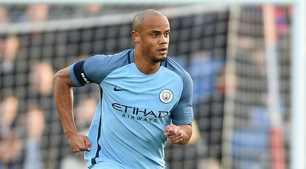 Manchester City's Vincent Kompany suffered a leg injury in training