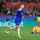 Leicester's Jamie Vardy scored his first goal since December 10 in their 2-1 Champions League defeat at Sevilla.