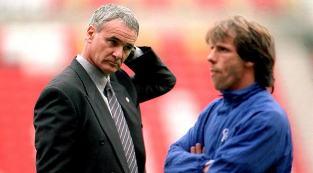 Claudio Ranieri, left, and his old Chelsea striker Gianfranco Zola are two of the Italians to have struggled in the midlands