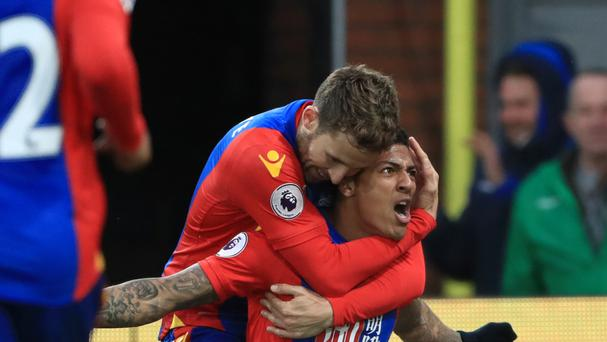 Patrick Van Aanholt celebrates scoring the goal that lifted Crystal Palace out of the bottom three against Middlesbrough