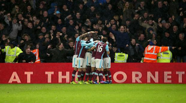 Andre Ayew celebrates netting West Ham's equaliser