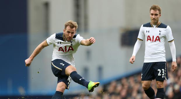 Tottenham's Harry Kane scored a hat-trick in the 4-0 win over Stoke