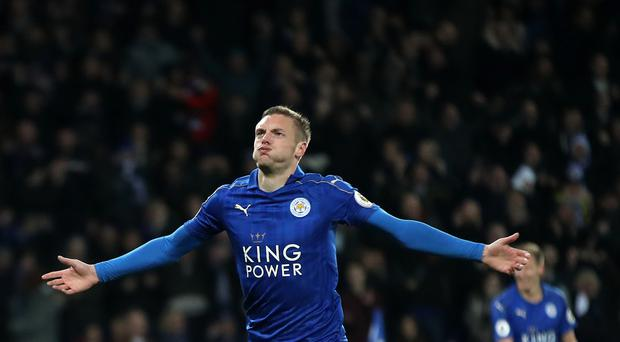 Leicester's Jamie Vardy scored twice in the win over Liverpool