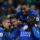Leicester were celebrating as Jamie Vardy, left, led them to victory over Liverpool
