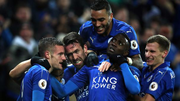 Jamie Vardy, left, and his Leicester team-mates had something to celebrate on Monday
