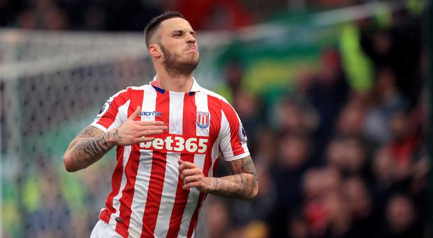Marko Arnautovic scored both of Stoke's goals against Middlesbrough