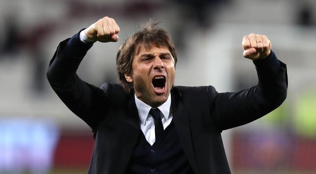 Chelsea manager Antonio Conte celebrates his side's win at West Ham