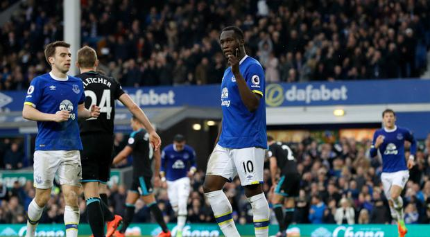 Romelu Lukaku celebrates scoring Everton's third goal of the game