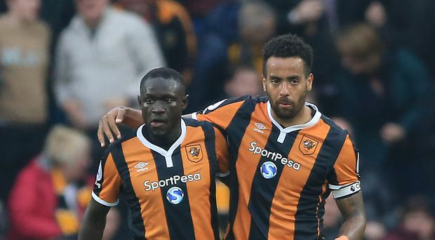 Hull's Oumar Niasse, left, scored both goals against Swansea